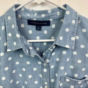 Tommy Hilfiger chambray polka dot button down